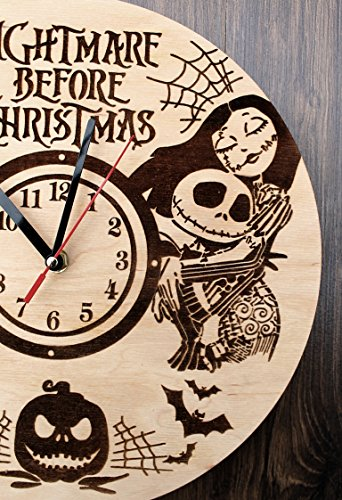 Jack Skellington Sally Nightmare before Christmas Design Real Wood Wall Clock - Eco Friendly Natural Nursery Wall Decor - Creative Gift Idea for Teens and Youth by Wood Crafty Shop (Image #2)