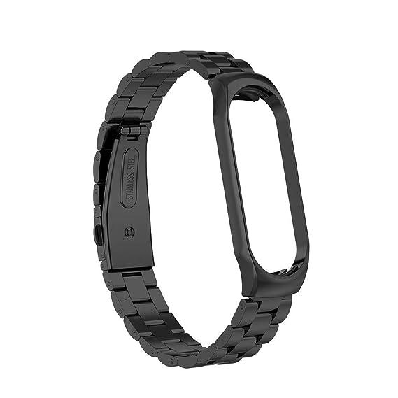 Baiomawzh Correas Compatible con Xiaomi Mi Band 3, Repuesto de Correa Reloj de Acero Inoxidable para Hombre y Mujer, Accessorios de Reloj Replacement ...