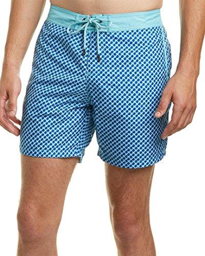 Mr. Swim Men's 3D Box Fixed Waist Printed Modern Boardshorts Blue 36