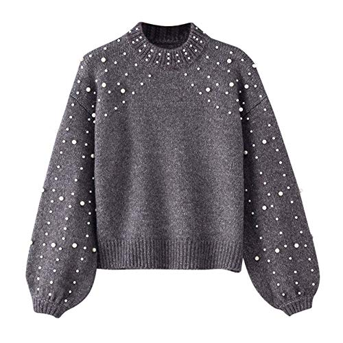 Kulywon Women Winter Gray Round Neck Long Sleeve Pearl Knitted Sweater Blouse Pullovers