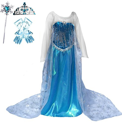 Snow Queen Elsa Blue Snowflake Long Cape Dress Costume (7-8, Style (Elsa Dress Fabric)