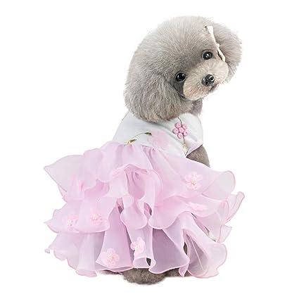 Norbi Spring Summer Pet Tutu Princess Dress Dog Bubble Skirt Doggie Plum Blossom Skirt Clothes Apparel