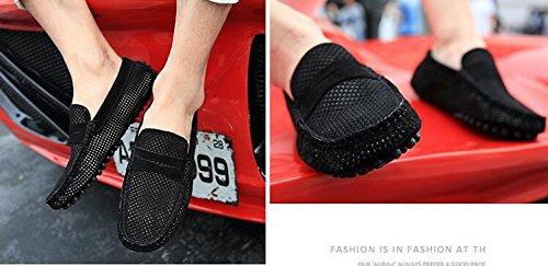 Happyshop (tm) Heren Mêlee Leder Mocassin Loafers Rijschoenen Comfort Instappers Stuiver Loafer Flats Zwart