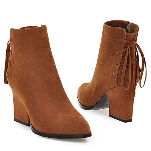 Classique brown Femme Bloc RAZAMAZA Hiver Bottines qwPxURHS7