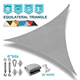 Coarbor 8'x8'x8' Triangle Sun Shade Sail with Hardware kit Perfect for Patio Deck Yard Outdoor Garden Permeable UV Block Shade Cover-Light Grey