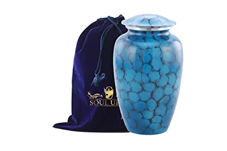 Funeral Urn by SoulUrns – Cremation Urn for Human Ashes – Hand Made in Aluminium – Display Burial Urn at Home – Cloud Blue Adult Urn