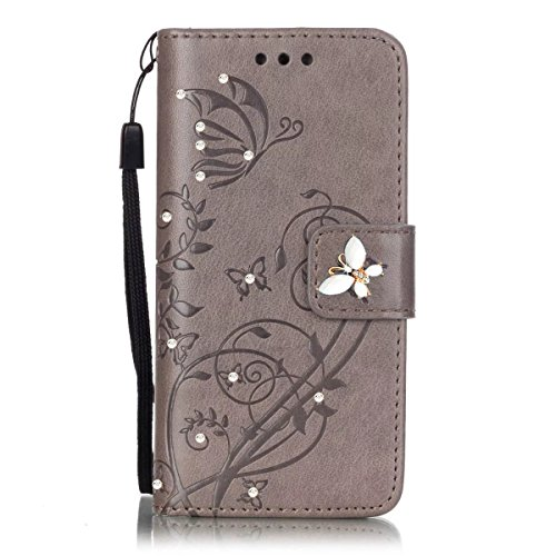 LG K30 Wallet Case,LG K10 2018 Case with HD Screen Protector,PU Leather Flip Butterfly Flower Case with Credit Card Holder and Kickstand Phone Cover for LG K10 Alpha/LG Premier Pro LTE,Grey/Bling