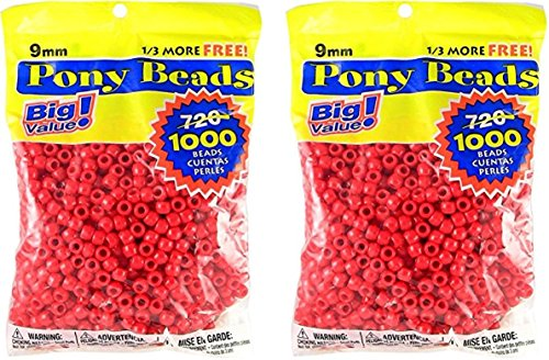 Darice 06121-2-01 1000 Count Pony Beads, 9mm, Opaque Red (2 packs)