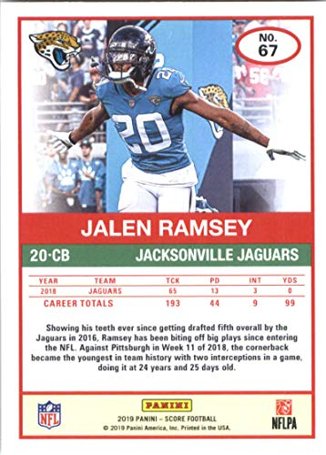 d2a99277290 Amazon.com  2019 Score Football  67 Jalen Ramsey Jacksonville Jaguars  Official NFL Trading Card From Panini  Collectibles   Fine Art