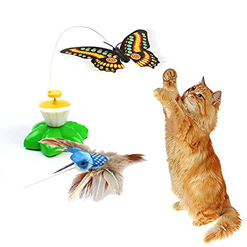 Dshengoo 2 Pack Funny Butterfly Toy Bird Toy for Cats Toys,Pet Cats Funny Rotating Electric Flying Butterfly & Bird Interactive Cat Toy for Kitten and Puppy Multicolor
