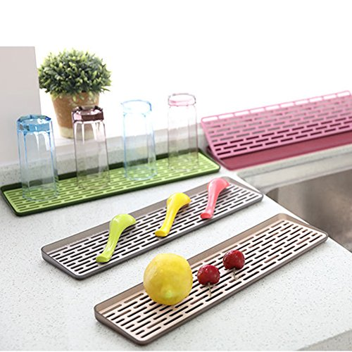 2 Tiers Plastic Small Dish Drainer Rack Drain Board Dish Drying Racks Drainboard Set for Kitchen Countertop Sink Draining GJ03 (Random Color -Green, Gray, Rose, (Draining Tray)