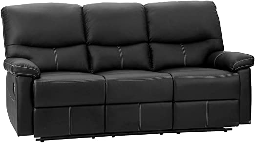 PU Leather Sofa Recliner Couch Recliner Sofa Manual Reclining Sofa (3  Seater) for Living Room Black