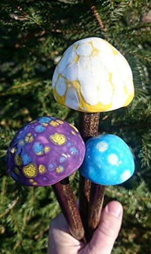 Colorful Garden Mushroom Stakes ~ Trio Set of 3 ~ Bright Yellow, Purple, and Sky Blue ~ Handmade Stoneware Ceramic