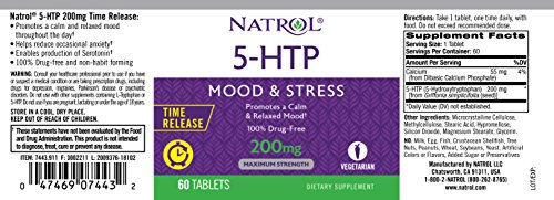 Natrol 5-htp Time Release Tablets, 200mg, 60 Count by Natrol (Image #2)