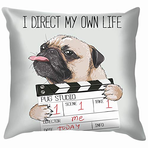 Pug Director Slate Beauty Fashion Dog Cotton Throw Pillow Case Cushion Cover Home Office Decorative, Square 12X12 Inch ()
