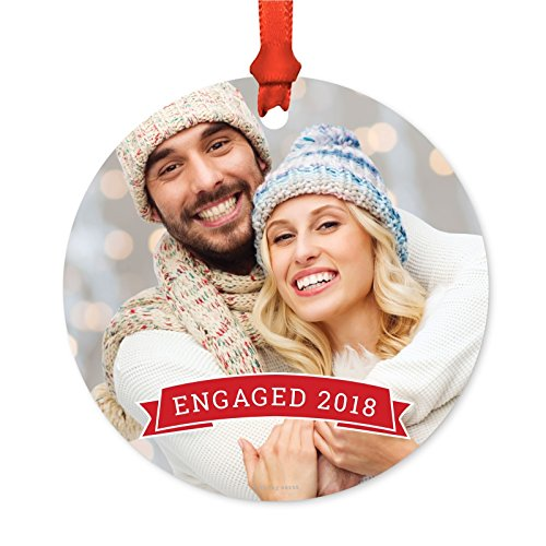(Andaz Press Photo Personalized Christmas Ornament, Red Banner, Engaged 2019, 1-Pack, Includes Ribbon and Gift Bag, Custom Image)