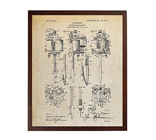 Turnip Designs Tattooing Device 1904 Patent Print Tattoo Shop Decor Tattoo Artist Gifts Tattoo Poster Tattoo Ink TDP1121