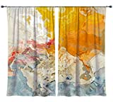 Abstract art draperies, set with two 50''x84'' panels in yellow, orange and white, The Kiss