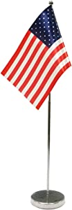 Small American Flag for Office Desk Decor,Desk Flag for Table Decor,Include Stainless Steel Base and Adjustable Pole