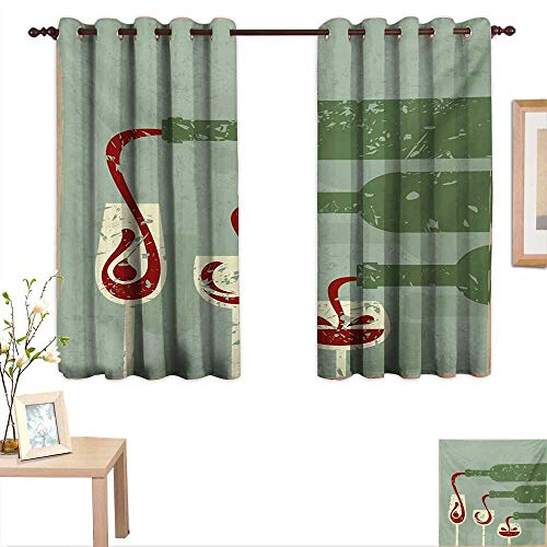 Terra Aged Wine - MartinDecor Wine Thermal Insulating Blackout Curtain Grungy Aged Display with Wine Pouring into Glasses Stylized Retro 55