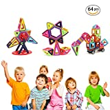 Magnetic Tiles Blocks Toys for 3 up Year Old Girls Boys Educational Construction Kit 3D Magnet Stacking Toys for Kids Toddlers Children Strong Magnetism 64 Pcs