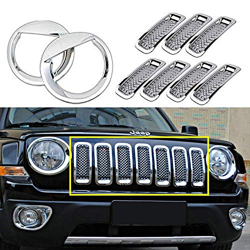 POMAR New 9 Pcs Front Grill Mesh Grille Insert Kit + Angry Bird Style Front Light Headlight Lamp Trim Cover For Jeep Patriot 2011-2016 (Silver)