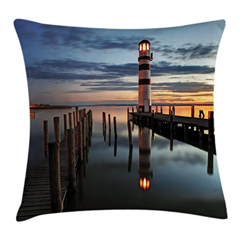Beach Throw Pillow Cushion Cover by Ambesonne, Calm Dusk at Bay with Lighthouse and Wooden Boardwalk Reflections on Water Small Clouds, Decorative Square Accent Pillow Case, 16 X 16 Inches, Multi (Inexpensive Benches)