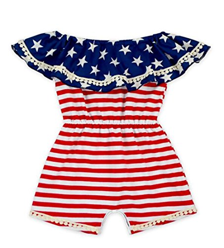 Flag Stripe Star Print One Piece Romper Ruffle Off-Shoulder Onesies Bodysuit Size 1-2 Years (White) ()