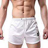 EVERWORTH Men's Fitted Workout Shorts Gym Bodybuilding Running Boxing Shorts Training Mesh Short Pants White L Tag XXL
