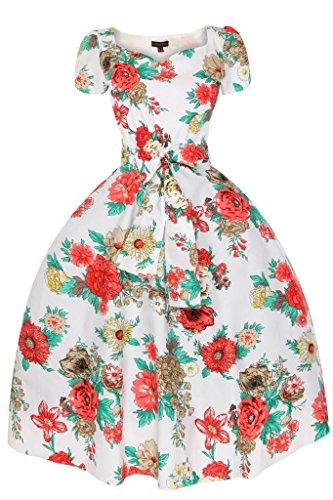 Femmes Années 1950 Encolure En Coeur Mancheron Été Floral Rose Rétro Vintage Robe - Femmes, Blanc, 10