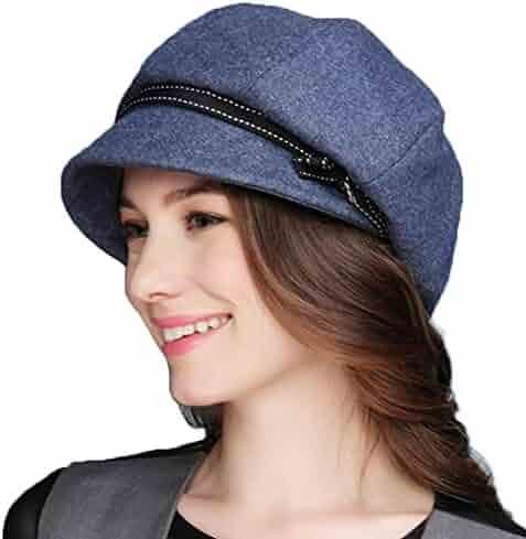 03a81b2e F FADVES Women Winter Wool Felt Newsboy Berets Cap Short Brim Bowknot  Artist Boina