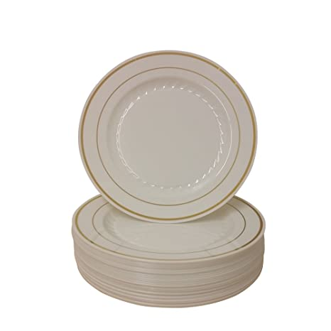 9 Inch Plastic Plates Trimmed With Gold. Pack Of 40 Elegant Disposable Dinnerware  sc 1 st  Amazon.com & Amazon.com: 9 Inch Plastic Plates Trimmed With Gold. Pack Of 40 ...