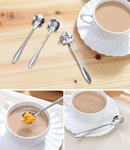 Glitterymall 8pc 18//8 304 Creative Floral Stainless Steel Spoons Teaspoons Coffee Scoops Tableware Tablespoons for Espresso Tea Coffee Dessert Ice Cream Sugar Appetizers Cake Bistro Tea Party 5 INCH