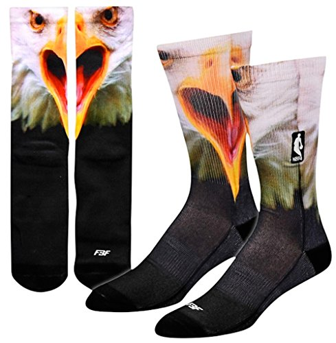 FBF Men's For Bare Feet NBA Sublimated Crew Socks Large (10-13) Eagle by FBF