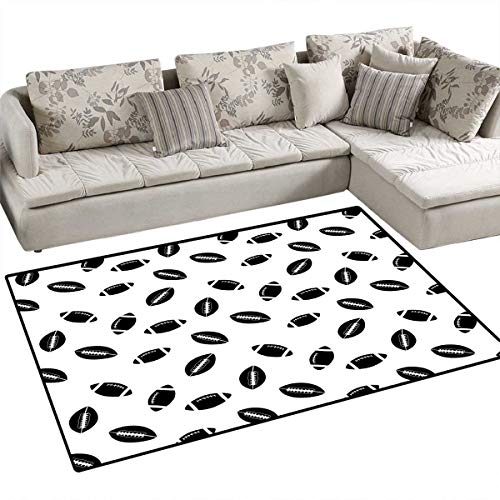 American Football Door Mats Area Rug Monochrome Pattern with Black Rugby Balls American Culture Sports Play Bath Mat Non Slip 55