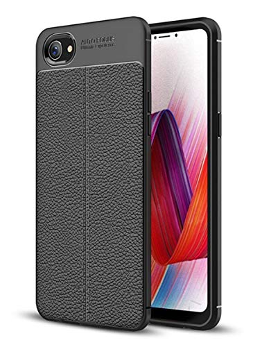 WOW Imagine Litchi Leather Textured Finish Shockproof Ultimate Grip Ultra Sleek TPU Back Case Cover for Oppo REALME 1   Black