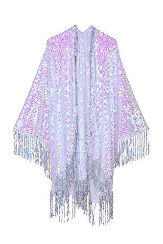 Iridescent Disco Sequin Kimono, Shimmering Festival Fashion Shawl for Rave, Club, Beach & Swimwear (Silver Holographic Tassels) ()