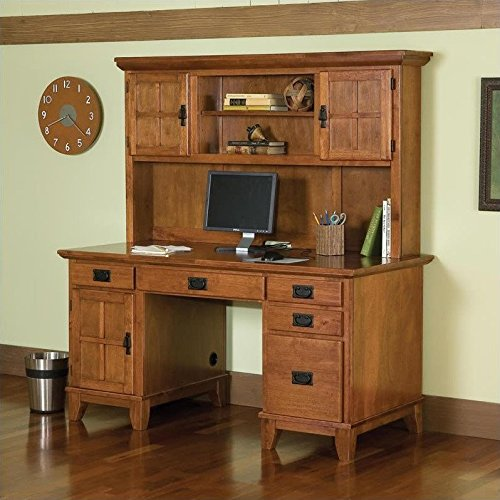 Home Style 5180-184 Arts and Crafts Double Pedestal Desk and Hutch, Cottage Oak Finish (Double Pedestal Desk Solid Wood)