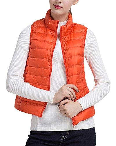 Donna Del Ultra Parka Maglia Maniche Cappotto Arancia Per Giacche Piumino Zipper Senza Leggero Della Invernale wq0OOX1