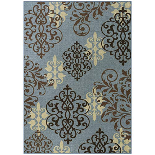 Maples Rugs  5 x 7 Non Slip Large Rug [Made in USA] for Living Room, Bedroom, and Dining Room, Blue