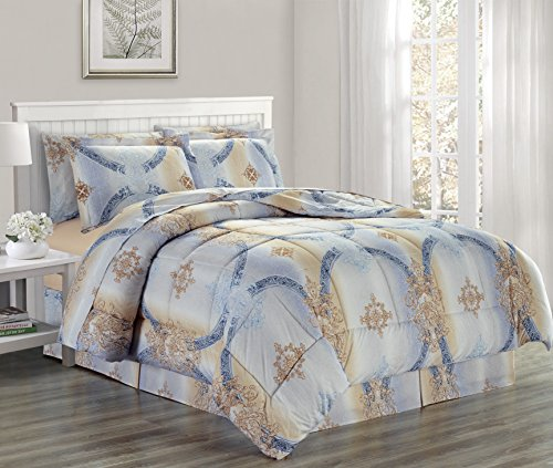 Ultra Soft Microfiber 8 PC Medallion Damask Printed Down Alternative Bed in a Bag, Bedding Set (Chloe, Queen)