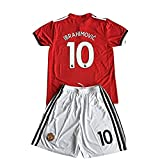 #8: kaerok 17/18 New Season Manchester United Ibrahimovic 10 Kids/Youths Home Soccer Jersey Shorts