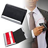 MAZIMARK-Black PU Leather Pocket Metal Business ID Credit Card Holder Case Wallet New