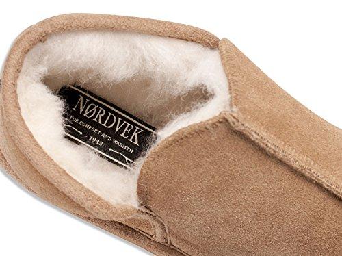 Nordvek - Zapatilla de casa hombre - Estilo bota - Piel ovina auténtico y mezcla lana ovina - Suela antideslizante- # 448-100 Marrón castaño