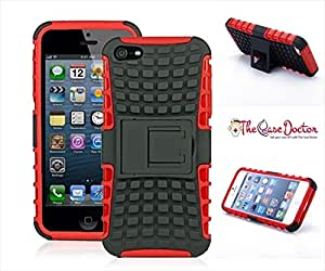 TCD for Apple iPhone 5 5S Hybrid [RED] Grenade Armor Dual Layer [Hard TPU & Soft Silicone Mix] Shock Proof Good Grip Protective Case Multi Purpose Protection and Kickstand [STYLUS PEN]