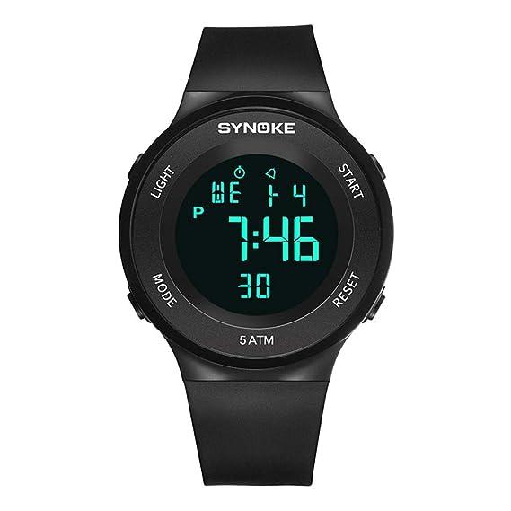 7d515fee6 Relojes Pulsera Multifunción Calendario Mes Semana Alarma Digitale Relojes  Hombre Correa de Silicona Deportivo Moderno, Negro: Amazon.es: Relojes