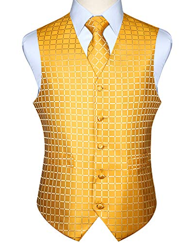 HISDERN Men's Solid Check Jacquard Waistcoat & Necktie and Pocket Square Vest Suit Set Yellow