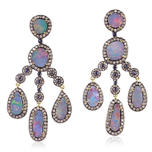 Blue Sapphire Doublet - Opal Doublet Blue Sapphire and Diamond Chandelier Earrings in 18K Yellow Gold & Sterling Silver