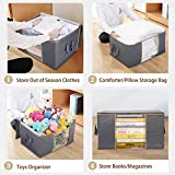 WiseLife Clothes Storage Bags 100L [3 Pack ], Large Capacity Blanket Storage Containers Organizers for Comforters,Bedding,Clothing,Foldable 3 Layer Fabric,#5 Zipper,Reinforced Handle,Clear Window