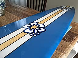 Five foot surfboard wall hanging. Five foot surf décor wildflower blue with hibiscus.